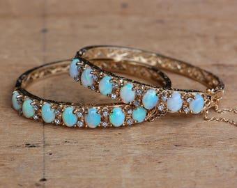 Vintage 14K opal and diamond filigree wedding bracelets • 12 carat opal and diamond bracelets