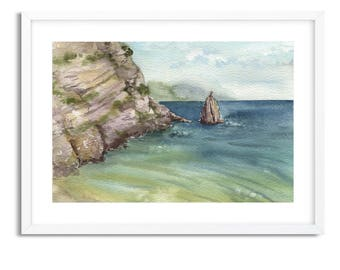 Sea and rocks / Watercolor Landscape / Digital Art Print / Wall Art / Instant Download Print