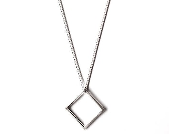 Square pendant etsy sterling silver square pendant mozeypictures Choice Image