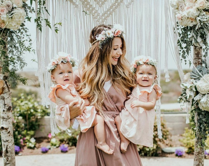 Featured listing image: Mommy and Me flower crown set,  Newborn Photo Prop, Baby Tieback Flower Crown, Baby Flower Crown, Toddler Flower Crown