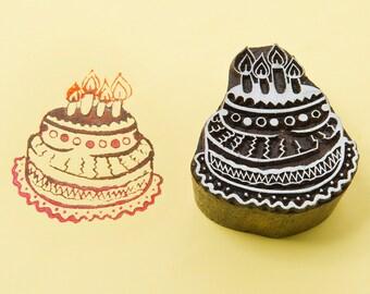Birthday cake, wood block stamp