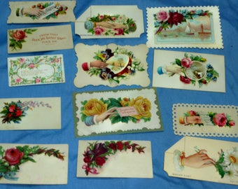 13 Vintage Victorian Business Calling Cards Some With Stickers, CC3