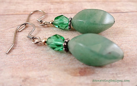 Natural Green Aventurine Gemstone Earrings