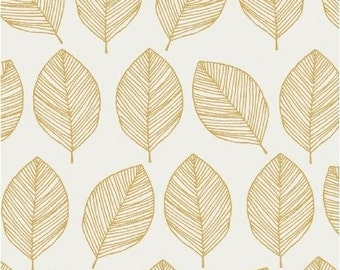 White and Gold Leaf Fabric; Quilting Cotton [[by the half yard]]
