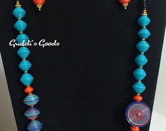 Royal Blue, Turquoise, Orange, Paper Bead Necklace Set, Handmade Jewelry, Wearable Art, Gift, Anniversary, Birthday, Teachers Appreciation