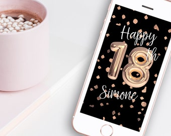 18th Birthday Rose Gold Balloon Snapchat Geofilter - Black & Rose Gold