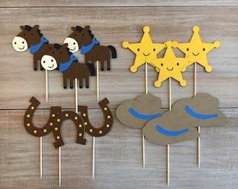 Western/Cowboy Themed Cupcake Toppers. Western Party. Cowboy Party.