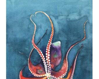 Oktopus-ART-PRINT - Aquarell Malerei Oktopus, Tintenfisch Dekor, Oktopus-Wand-Kunst, Oktopus-Liebhaber-Geschenk, davon, Leben im Meer Malerei