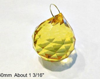 One 30mm-Pale Amber Crystal Ball, Faceted Crystal Prism Ball, Sun Catcher, Wind Chime Crystal, 30mm Crystal Ball