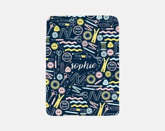 Monogram Throw Blanket, Sewing Blanket, Gifts for Sewers, Adult Blankets, Sewing Gifts, Fleece Blanket, Soft Throw Blanket, Cozy Lap Blanket