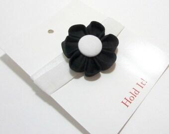 Black & White Fabric Flower Elastic Headband, Kanzashi Flower Headband, Baby Headband, Toddler Headband, Adult Headband, Elastic Headband