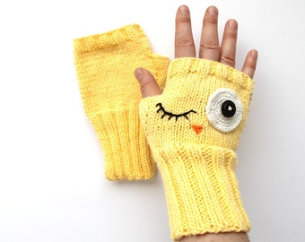 Yellow Crazy Owl Glove,  Arm Warmers, Knitting Fingerless Gloves, Boys Girls Birtday Gift,  Knitted Mittens, Crazy Hand Glove, Face Mittens