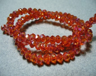 Crystal Beads Red AB Faceted  Rondelles 4x3MM