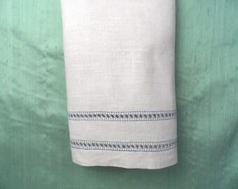 Linen towel with blue stitch design  / vintage beige linen towel hand towel