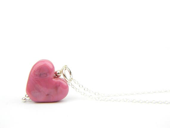 Art Glass Pendant - Small Raspberry Heart Glass Bead Sterling Silver Pendant - Classic Collection