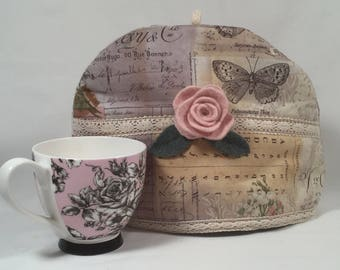 Tea Cozy with Felted Wool Lining, Felted Wool Flower, Pink Rose, Shabby Chic, Handmade, Upcylcled