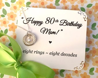 80th BIRTHDAY Gift for Women 80th Birthday for Grandma 8th Anniversary Gift POEM Sterling Silver 8 Rings for 8 Decades Connected Rings