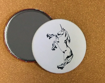 3.5 Inch Roller Skating Unicorn Hand Mirror - Roller Derby, Unicorn Art, Unicorn Hand Mirror, Unicorn Pocket Mirror, Unicorn Compact Mirror