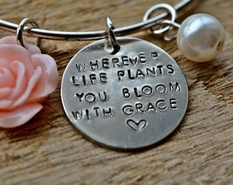 Bloom Bracelet, Charm Bracelet, Gift for Her, Floral Bracelet, Inspirational, Hand Stamped, Unique Gift, Floral, Charm Bangle, Daughter Gift