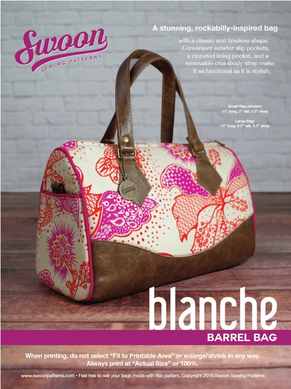 Swoon Sewing Patterns, Blanche Barrel Bag, Bag Pattern, Vintage Bag ...
