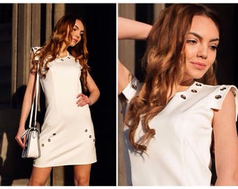 White Dress / Womens Dresses / Bodycon Dress /  Dress With Eyelets / Short Dress / Dress With Zipper On The Back /  Handmade Dress