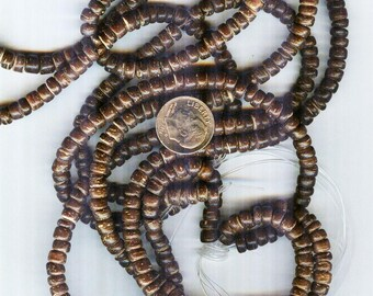 "5x3mm Dark Brown Natural Coconut Palmwood Rondelle Beads 16"""