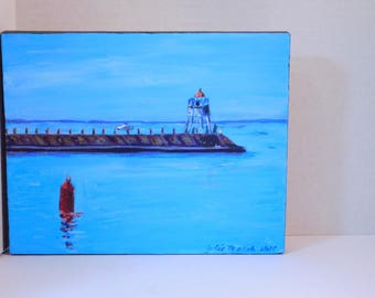 """Two Harbors Lighthouse  - original Acrylic on canvas painting by Julie Miscera   8""""x10"""""""