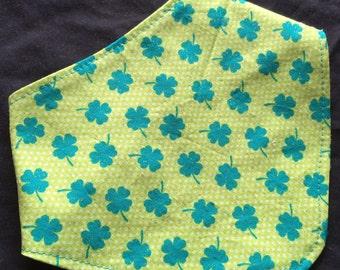 ST. PATRICK'S CLOVERS bandana bib.  Drool - Dribble - Irish - Ireland - Made in America - Green - Handmade - Reversible - Bandit Bib - Baby