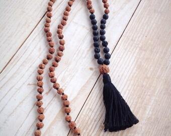 Lava Stone Mala Bead Necklace, Rudraksha Mala, Black Lava Mala, Mala Necklace, 108 Mala Beads, Mala Beads, Mala Beads 108, Buddhist Jewelry