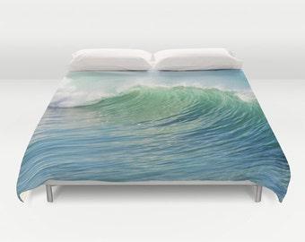 Ocean Duvet Cover, Waves Decorative bedding, unique design, Nautical comforter cover, Aqua Blue bedroom, Beach, Surf,Water,Ocean Blue, Green