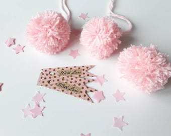 Gift tags, Pom Poms, Labels, Valentine's, Present tags, Pink and Gold, Birthdays, Pink, pom pom tags, wedding present, Wrapping