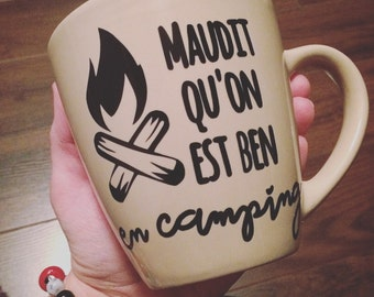 """Decal """"Maudit qu'on est ben en camping"""" for stick on your mug, mason jar"""