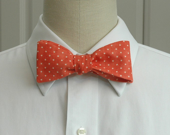 Men's Bow Tie, coral with ivory pin dots bow tie, wedding bow tie, groom bow tie, dark salmon bow tie, groomsmen gift, traditional bow tie