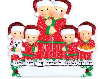 Pajama Family of 6  -  Personalized Christmas Ornament - Family Ornament - Personalized Ornament