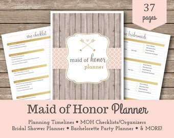 Maid of Honor Planner / Bridesmaid / Wedding Planner / Wedding Printable / Bridal Shower Planner / Bachelorette Bash Planner