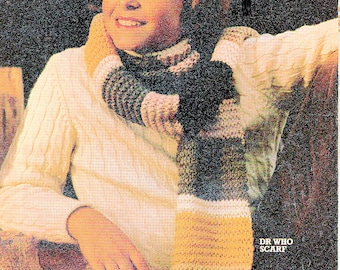 Vintage Boys Dr Who Scarf to Knit - PDF PATTERN DOWNLOAD only