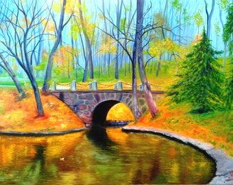 Bridge in the park, 60x80 cm, oil on canvas. Alek Gross