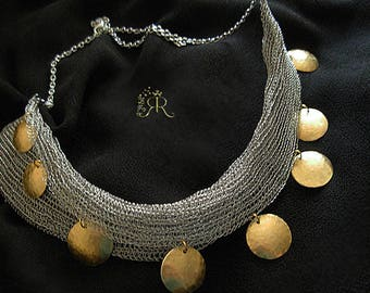 Solar and Earth-Mesh Stainless steel hand crochet necklace- Adorned with hammered Brass discs - statement necklace