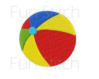 Beach ball machine embroidery design instant download