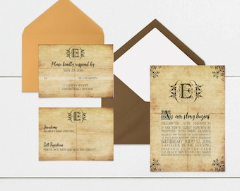 Fairytale Wedding Suite Template / Editable Layered PSD File / RSVP / Invitation / Details / Photoshop File / Vintage