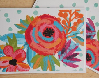 12 Flower Note Cards.  Flower Card Set. Colorful Flower Thank You Cards. Handmade Greeting Cards.  Blank Note Cards