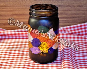 Hand Painted Mason Jar, Night Light, Flowers, Decor, One of a kind, Unique,