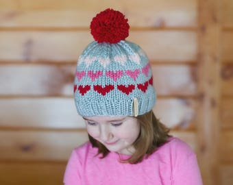 Knit Valentine's Day Hat Fair Isle Knit Multicolor Hearts Customizable