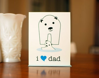 I Heart Dad - Baby & Papa Polar Bears New Baby Card on 100% Recycled Paper