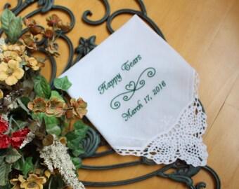 Happy Tears wedding handkerchief, hankie, hanky, bridal party gift, custom, gift, personalise wedding favor, LS3F38 Snugahug