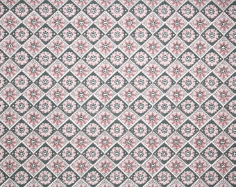 1940's Vintage Wallpaper - Pink and Gray Geometric