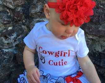 Parley Ray Cowgirl Cutie Custom Made Baby Girls Bodysuit