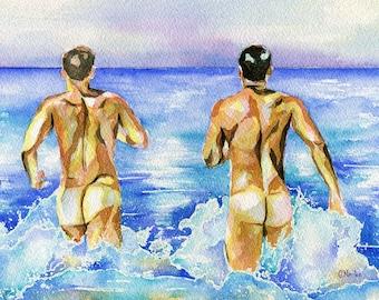 """PRINT Original Art Work Watercolor Painting Gay Male Nude """"Beach pleasure"""""""