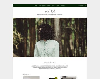 OH LILY! WordPress Theme / Minimal and modern blog woocommerce shop and store website template / Wedding Photography Lifestyle Fashion Food