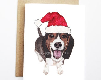 Christmas Card - Beagle, Dog Christmas Card, Cute Christmas Card, Holiday Card, Xmas Card, Seasonal Card, Christmas Card Set